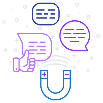 Line art illustration text bubbles and social icons.