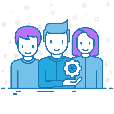 A line art drawing of a team of digital marketers.